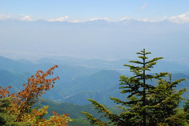 恵那山_登山道_聖岳と富士山