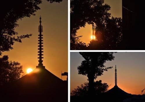 三十重塔夕陽夕焼け