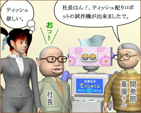 3Dキャラ漫画ティッシュ配りロボット1