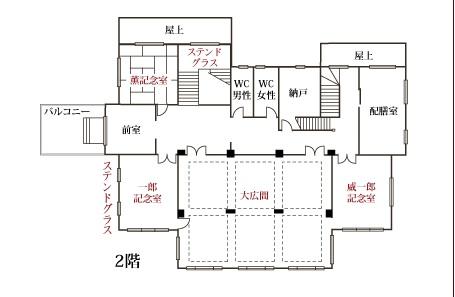 鳩山会館2階見取り図