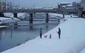 杉原川 雪の日の散歩 神月祥江 017フォトコン優秀賞