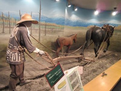 農耕する母馬と仔馬