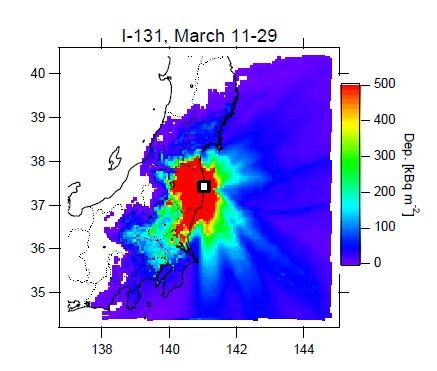 国立環境研究所 放射性ヨウ素の沈着積算量