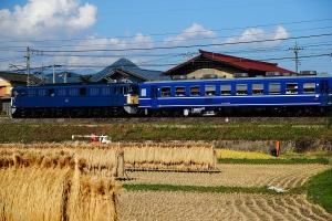 青い客車と青い機関車
