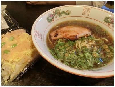 尾道ラーメンとエビおぼろ寿司