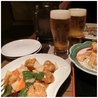 酢豚とビール1
