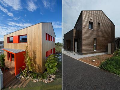 写真左:ドイツパッシブハウス基準の住宅(タキナミモデルハウスin福井) 写真右:スイスミネルギーPエコ基準の住宅(滋賀県小舟木エコ村)