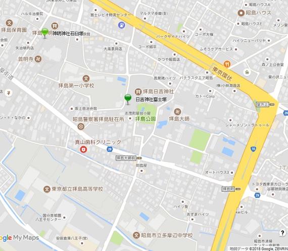 日吉神社富士塚地図