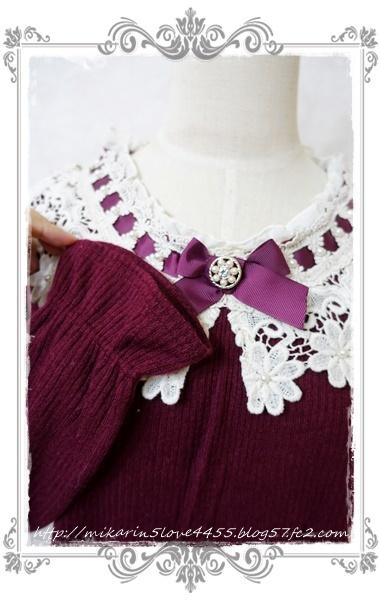 1126ビジュー釦付レース襟PO(ワイン)袖