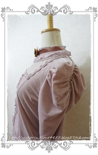 1126チョーカー付ベロアPO(淡ピンク)マトン袖
