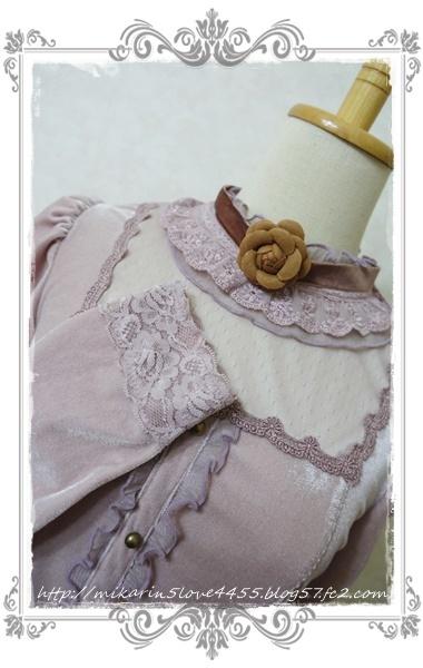 1126チョーカー付ベロアPO(淡ピンク)袖