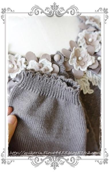 1201お花リボンレースカーデ(茶)袖