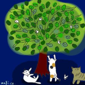 木の根元でうっとりする猫たち