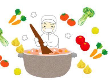 図形でお兄さんやお鍋を作っています