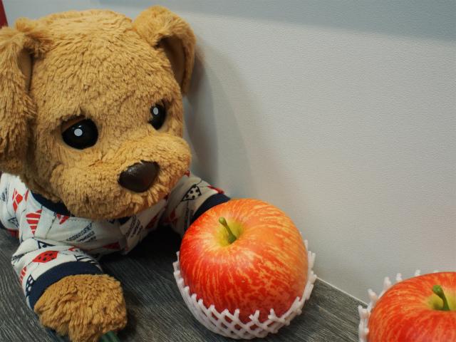 カウンターの上のリンゴ