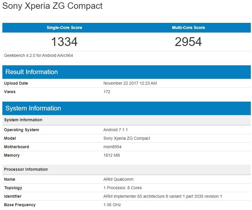 未発表のSony Xperia ZG CompactがGeekbenchに登場