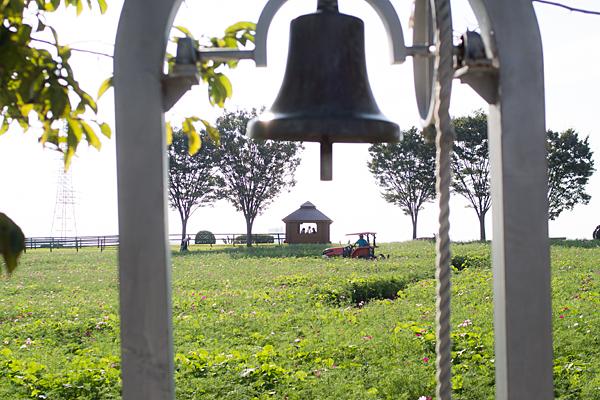 愛知牧場鐘とトラクターと畑