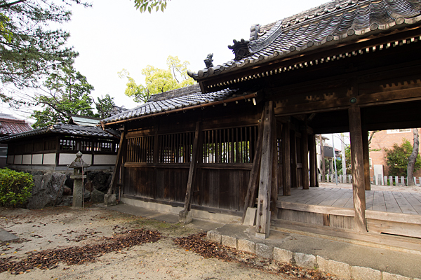 戸田白山神社社殿横から