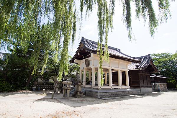 戸田八幡社社殿と柳