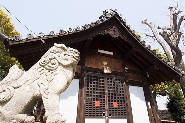 牛毛神社拝殿と狛犬