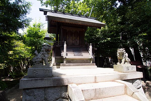 汐見町須佐之男社本殿と狛犬と獅子