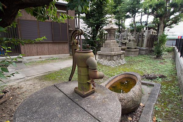 桃ノ木神社境内の風景と井戸