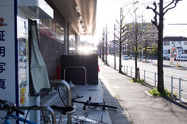 夕日と転んだ自転車