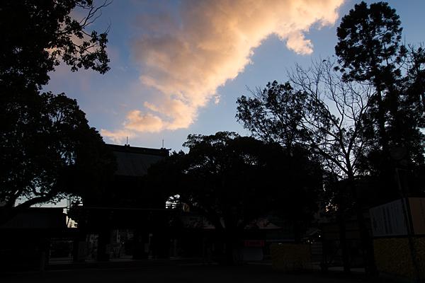 真清田神社楼門と夕雲