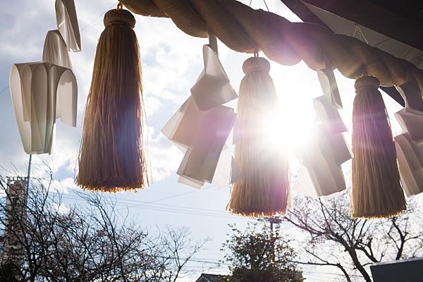 尾張猿田彦神社注連縄と紙垂と逆光