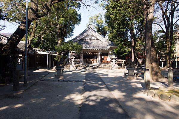 綿神社参道拝殿前