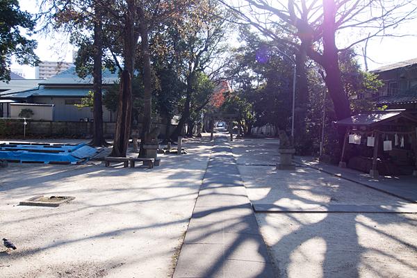 綿神社参道を振り返る
