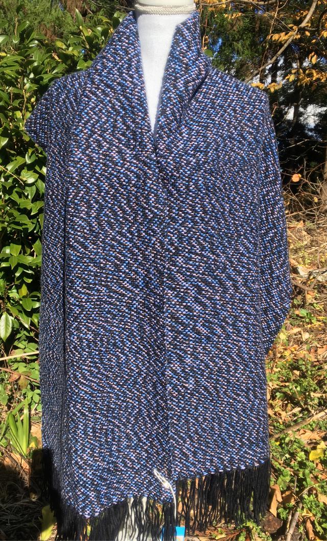 アルパカ100ピンク色と青色と濃紺ストール