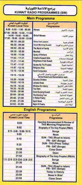 B2017(2017年10月~2018年3月) ラジオ・クウェート スケジュール表