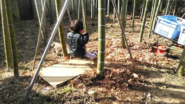 竹藪にブランコを