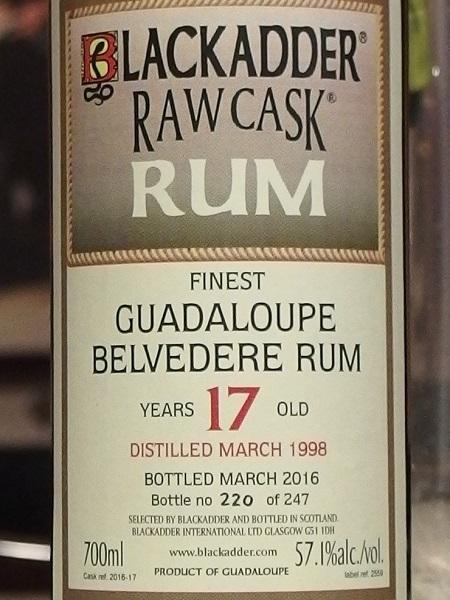 BLACKADDER RAW CASK GUADALOUPE BELVEDERE RUM 1998 17y_L600