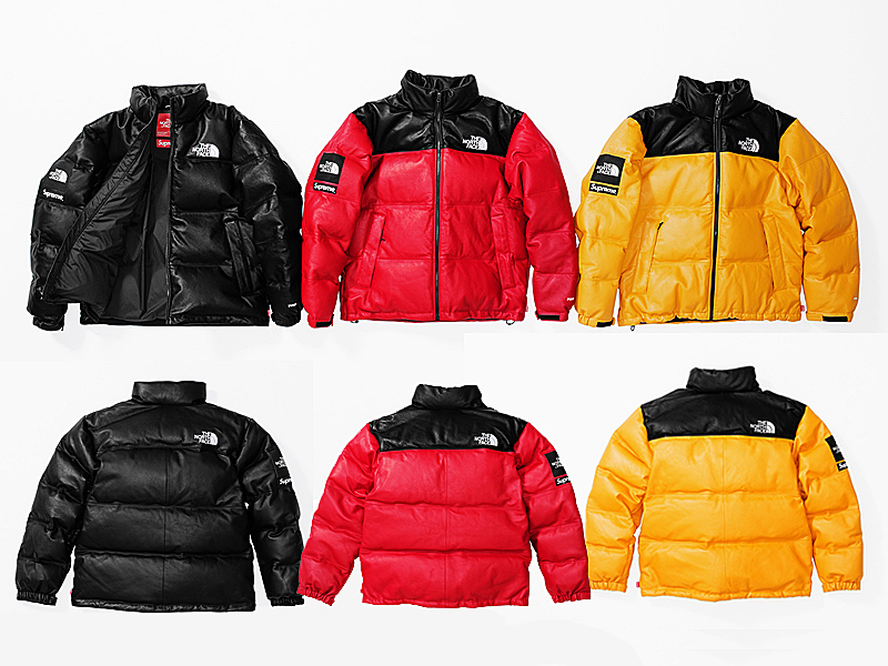 「'17FW Supreme× THE NORTH FACE Leather Nuptse Jacket」の画像検索結果