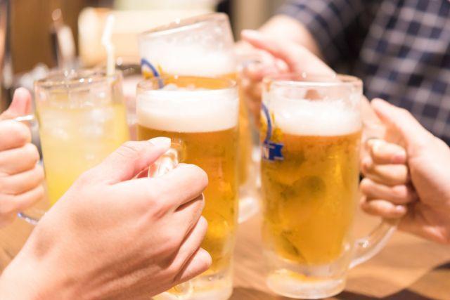 ビールで 乾杯