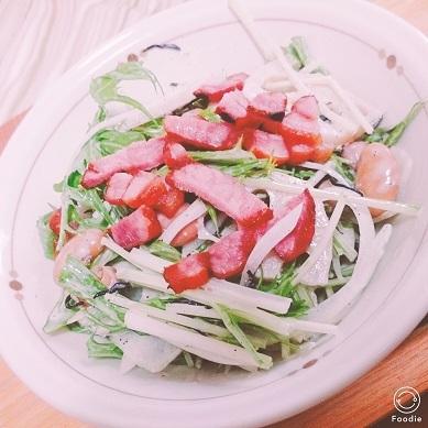 201710水菜とベーコンサラダ1