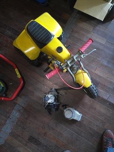 ②ポケバイエンジン載せ替えとステップ作成 (1)