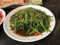 空心菜牛肉炒め180112