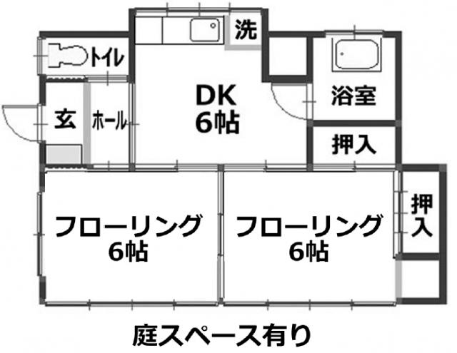 ■物件番号5115 海側格安P付5万円2DK!隣室なし完全カド部屋!買い物便利!オール洋室!都市ガス!