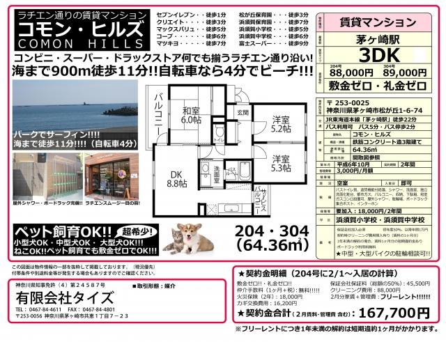 ★物件番号P5242 ラチエン通りのペット可マンション!ネコも大型犬もOK!3DK!64平米!8.8万円!