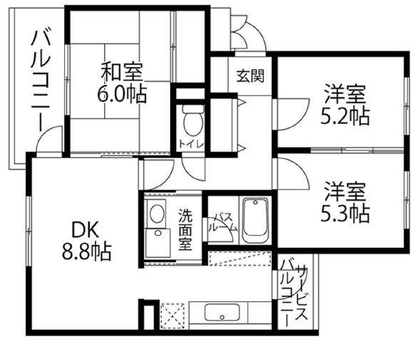 ■物件番号P5242 ラチエン通りのペット可マンション!ネコも大型犬もOK!3DK!64平米!8.8万円!