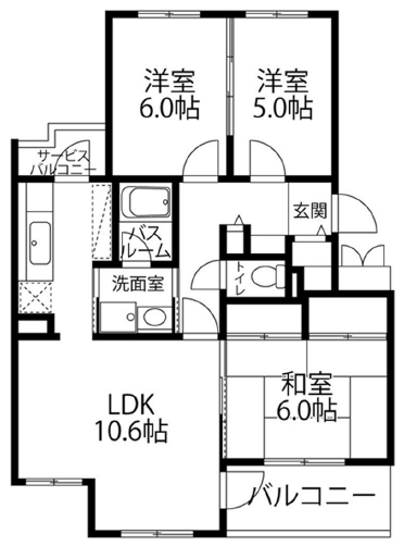 ■物件番号P5240 ラチエン通りのペット可マンション!ネコも大型犬もOK!最上階3階!3LDK!71平米!9.7万円!