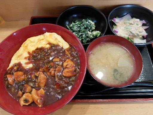 伊達鶏のチリソース丼+野菜おかず2品