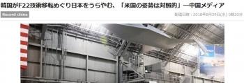news韓国がF22技術移転めぐり日本をうらやむ、「米国の姿勢は対照的」―中国メディア