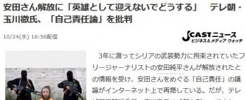 news安田さん解放に「英雄として迎えないでどうする」 テレ朝・玉川徹氏、「自己責任論」を批判