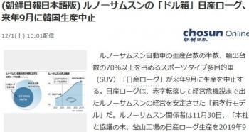 news(朝鮮日報日本語版) ルノーサムスンの「ドル箱」日産ローグ、来年9月に韓国生産中止