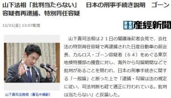 news山下法相「批判当たらない」 日本の刑事手続き説明 ゴーン容疑者再逮捕、特別背任容疑