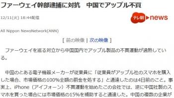 newsファーウェイ幹部逮捕に対抗 中国でアップル不買